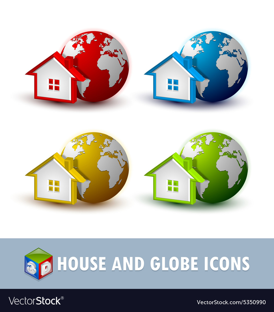Earth and house icons vector