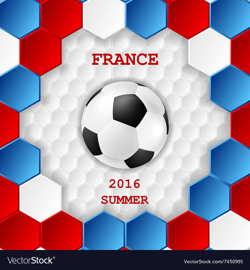 Bright soccer background with ball french colors vector