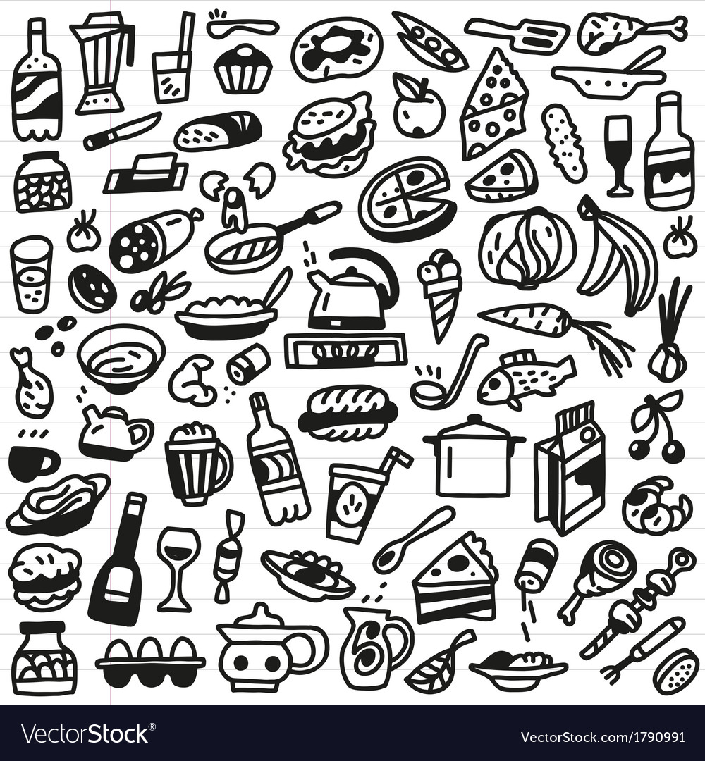 Food  doodles set vector