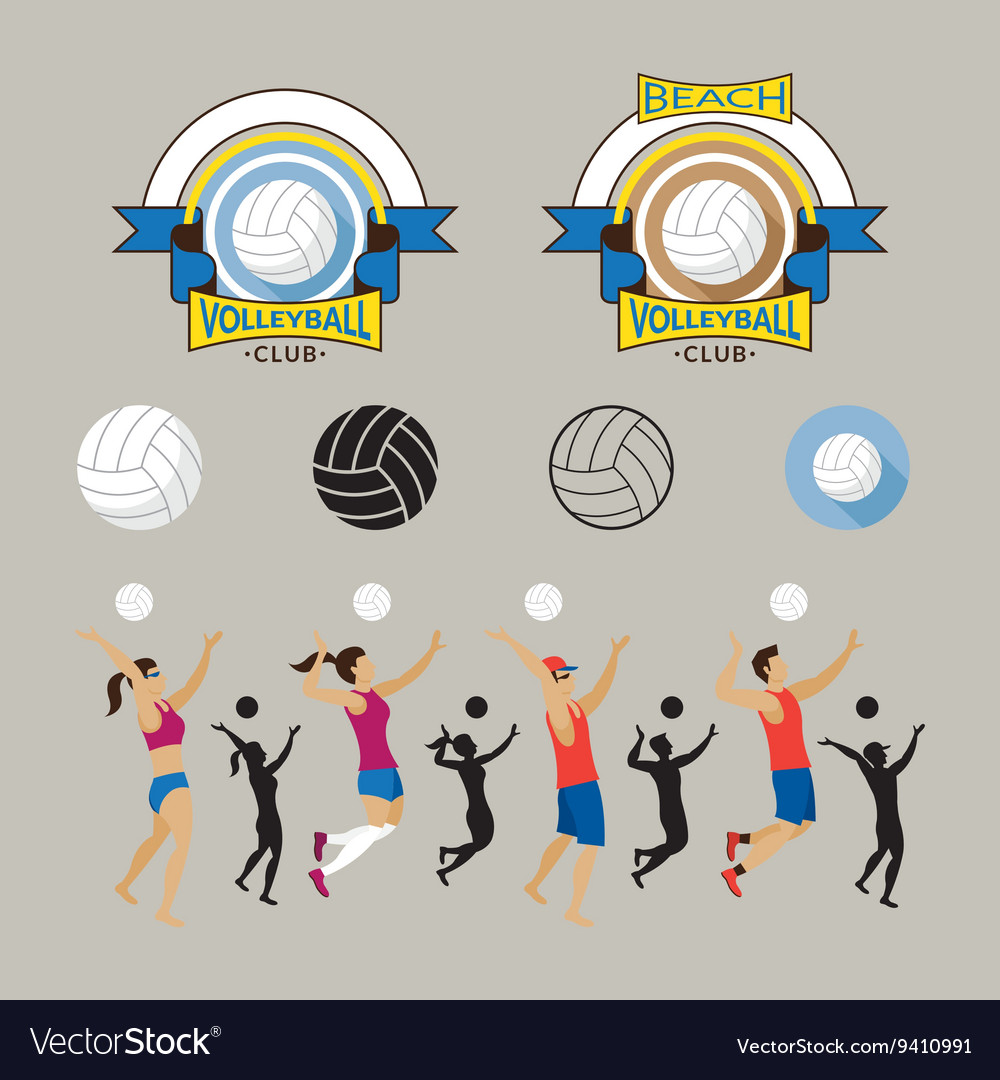 Volleyball player and graphic elements vector