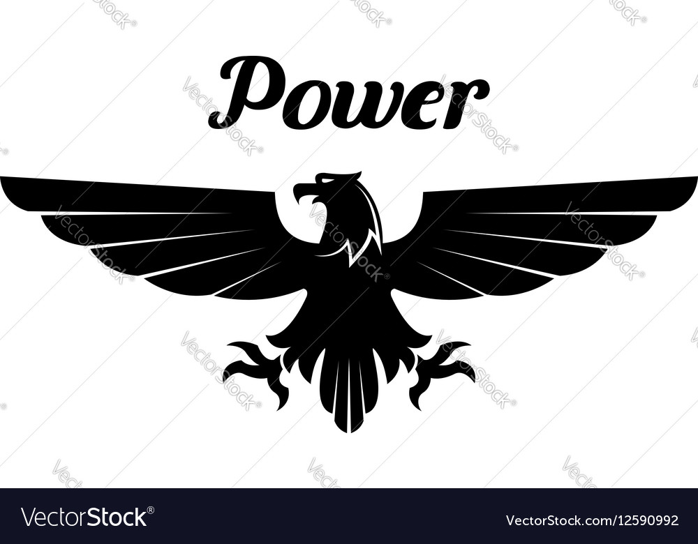 Heraldic black eagle or vulture icon vector