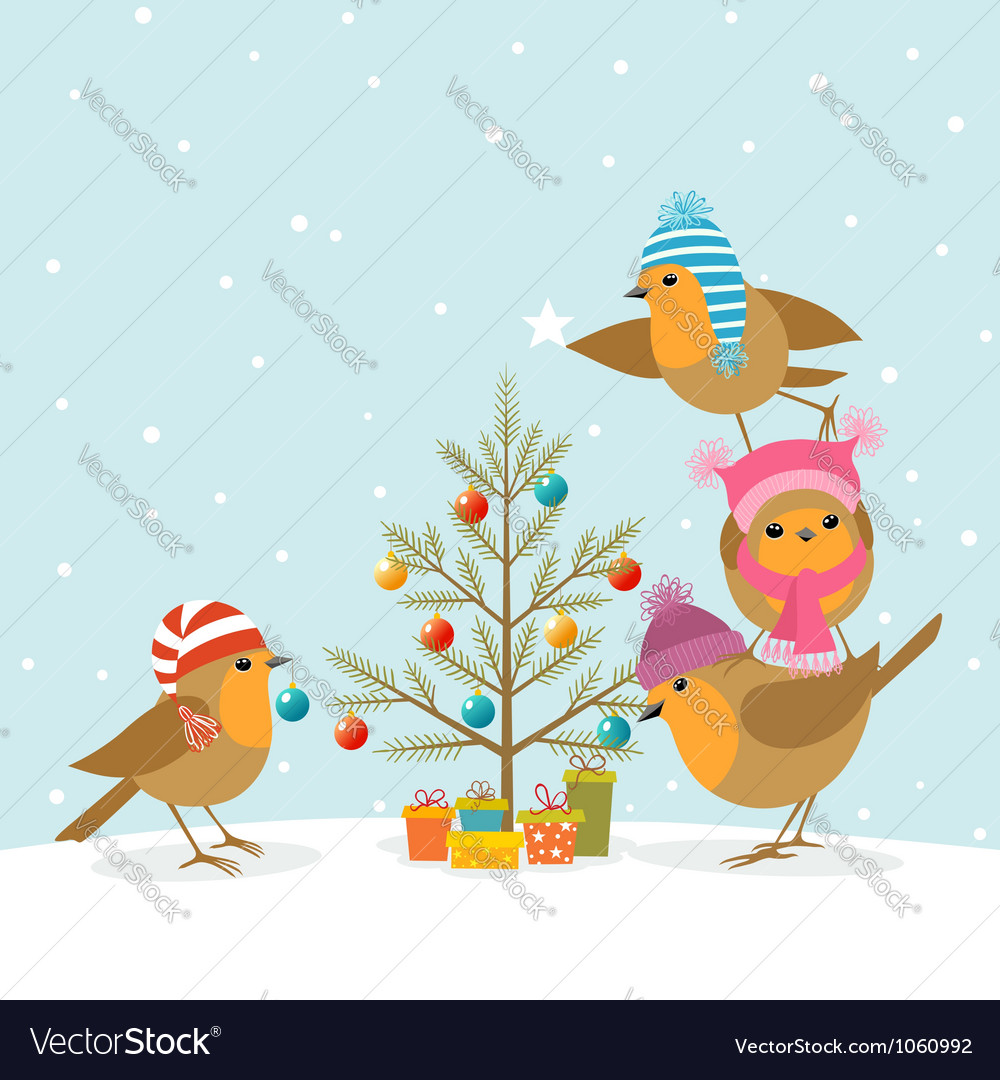 Robins and christmas tree vector