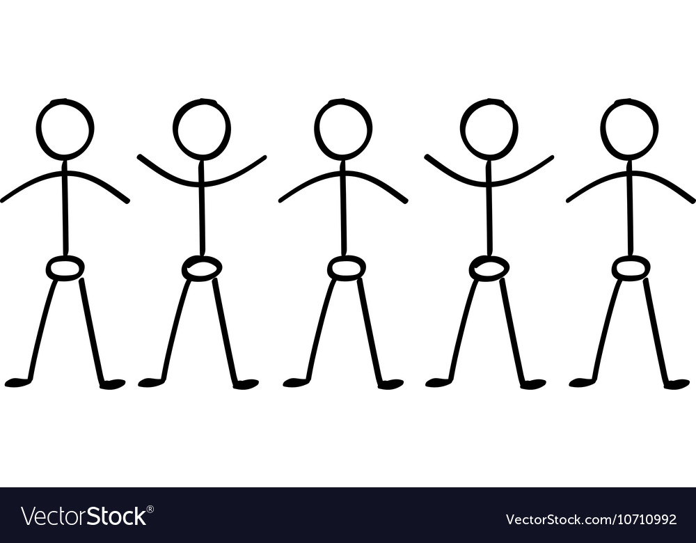Stick figure people holding hands vector