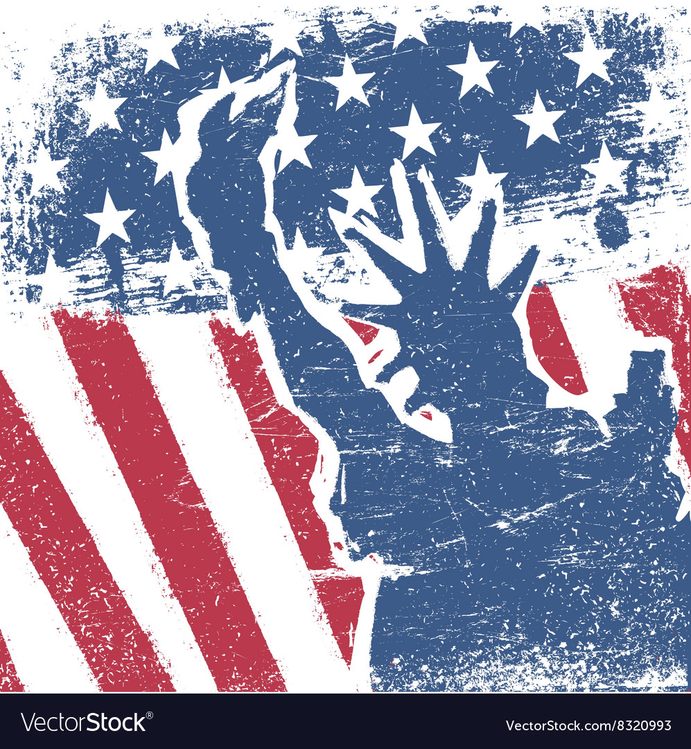 American flag and liberty statue silhouette grunge vector