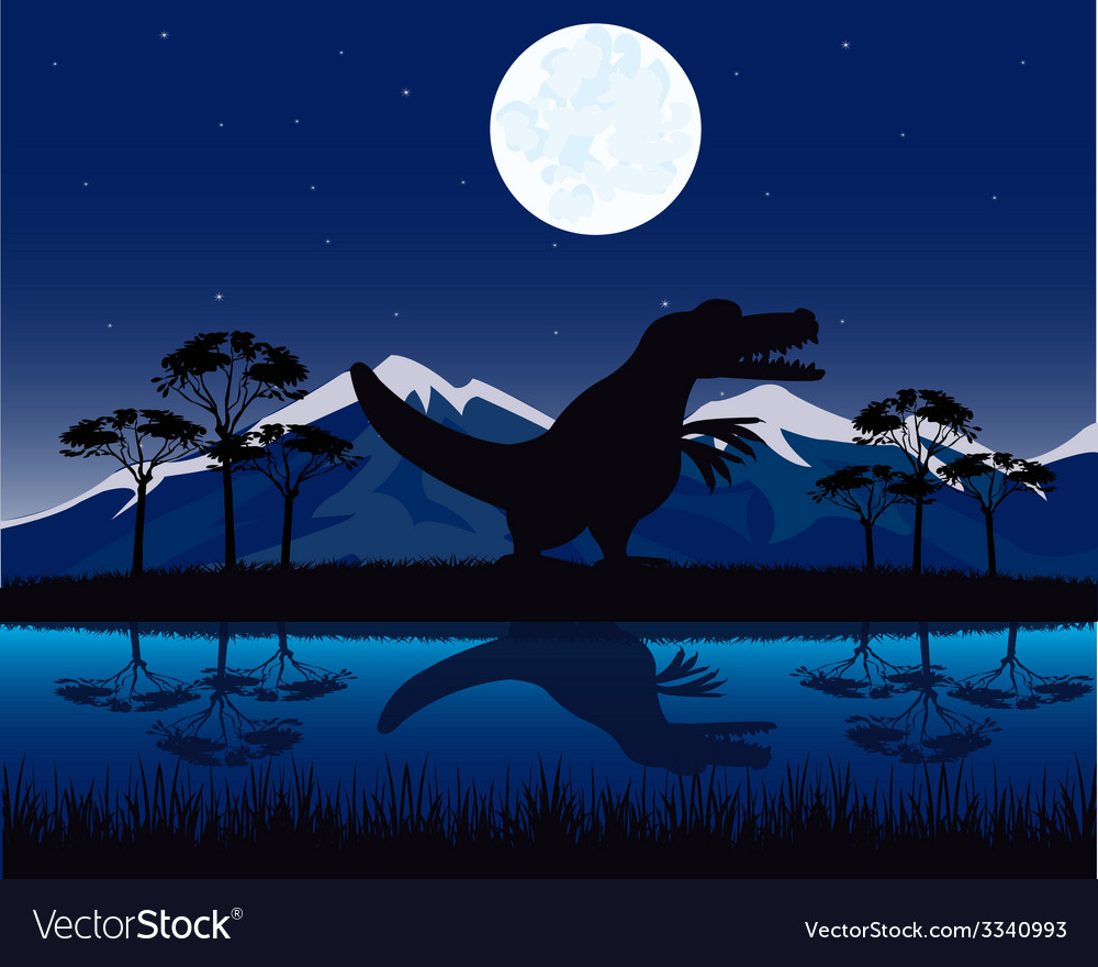 Dinosaur on nature vector