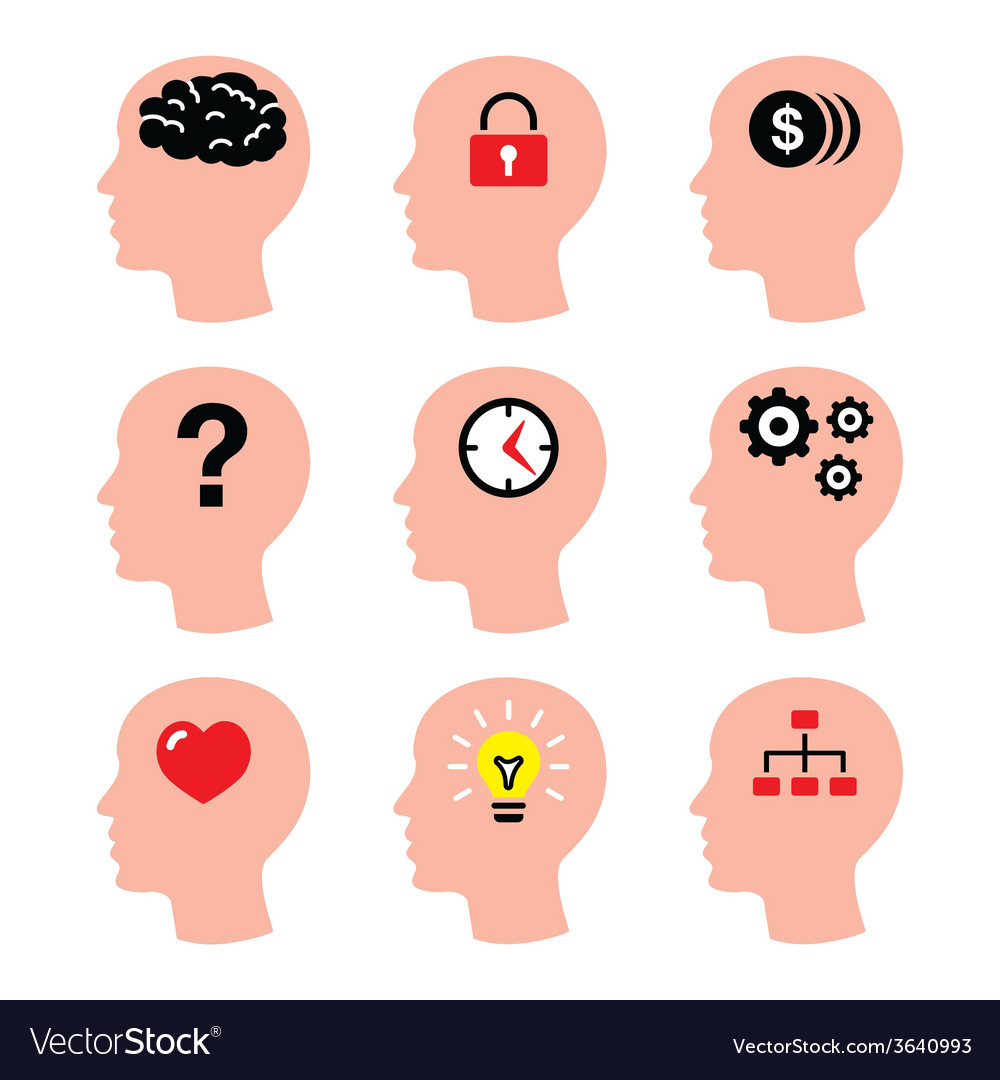 Head man thoughts brain icons set vector