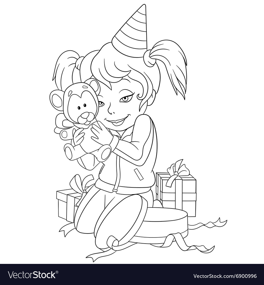 Cute happy cartoon girl with teddy bear vector