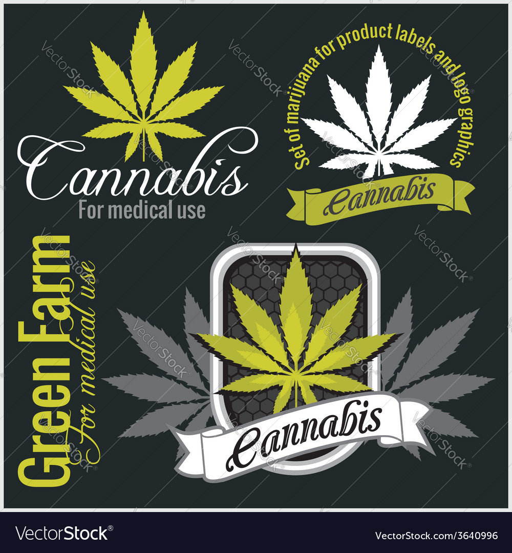 Marijuana  cannabis for medical use set vector