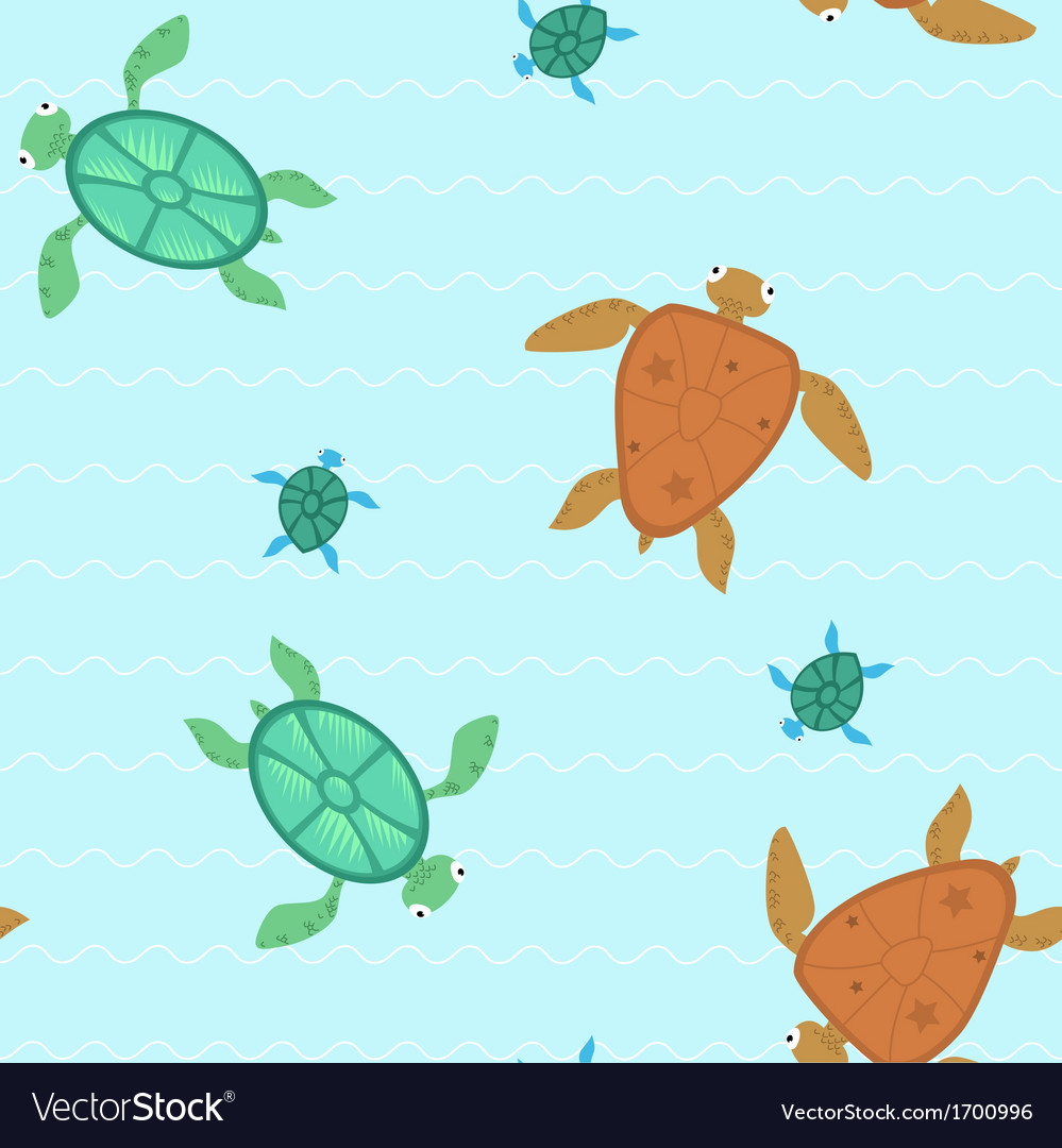 Seamless with turtles vector