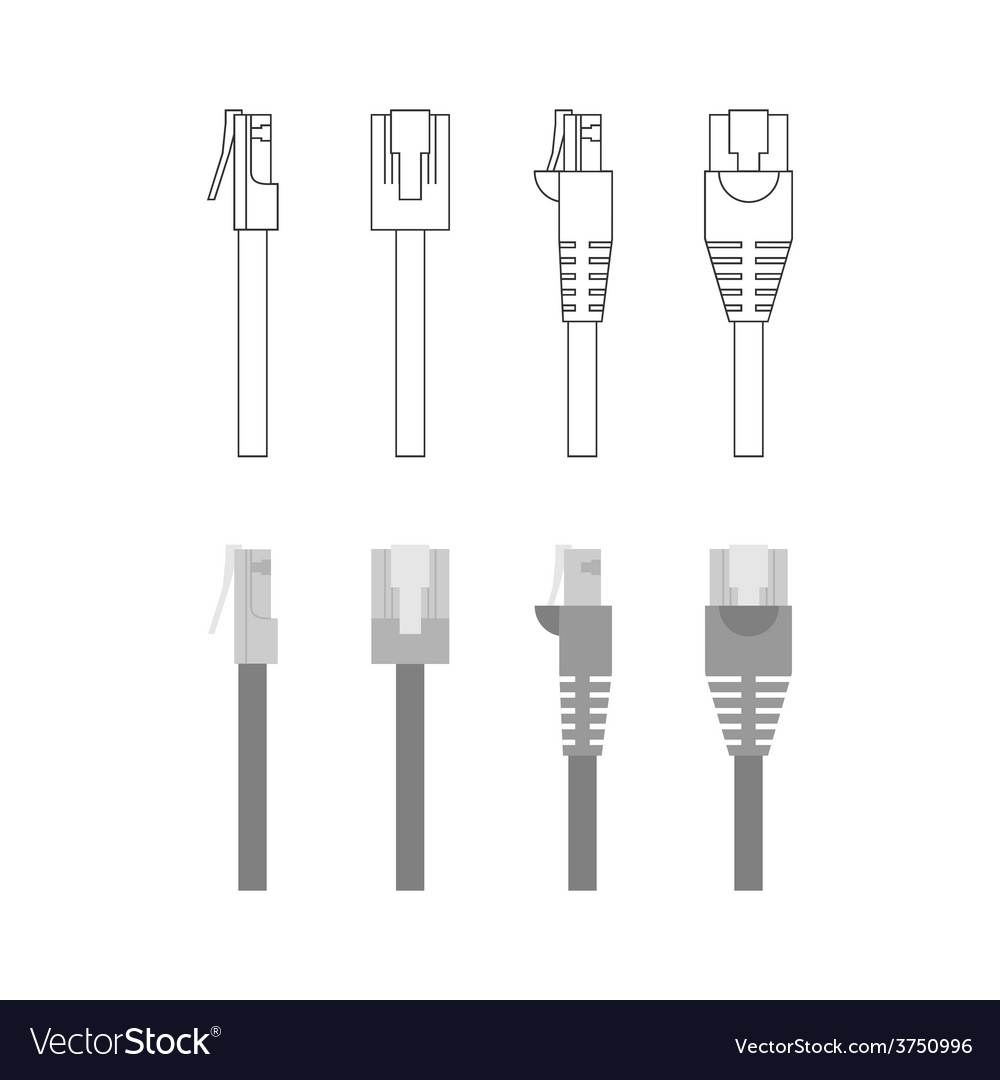 Set of ethernet connectors vector