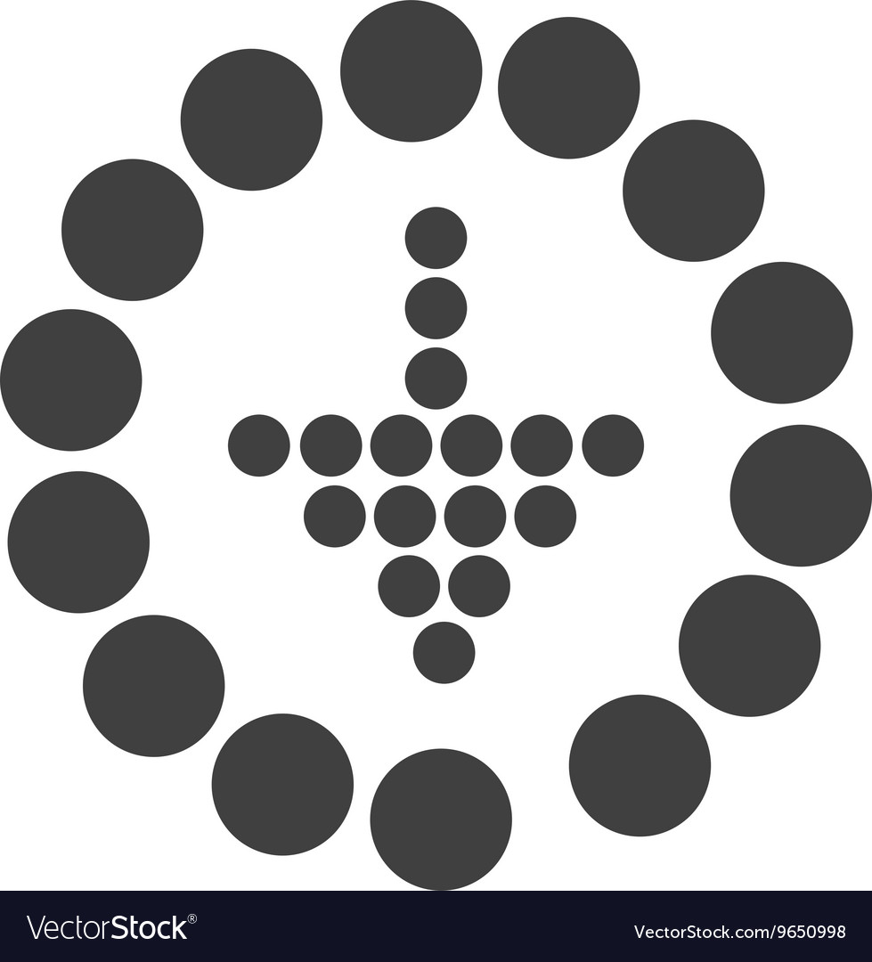Arrow down into a round with dots design vector