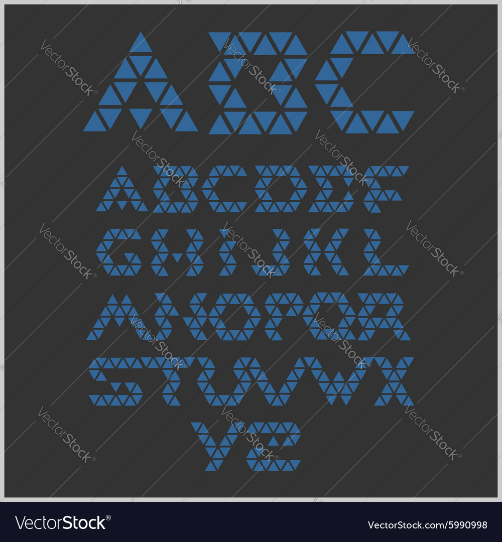 Font from triangles  set vector