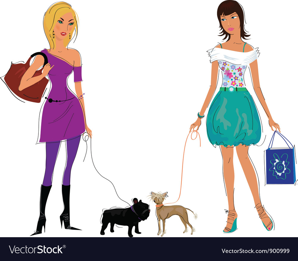 Girls with dogs vector