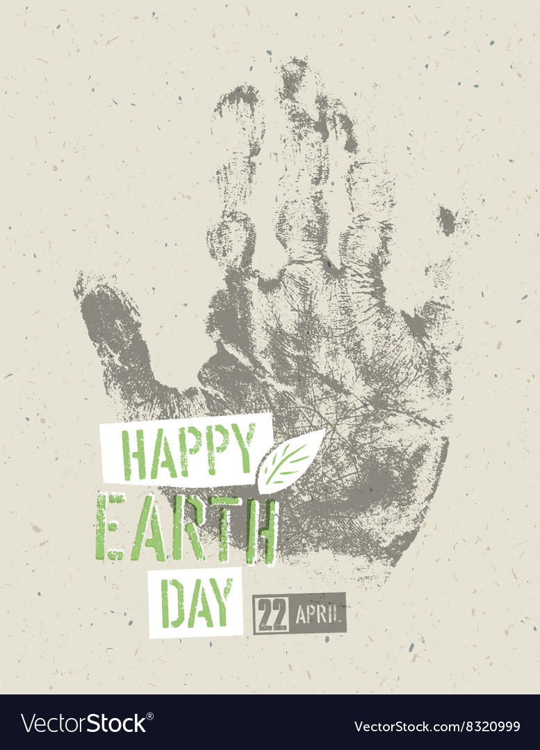 Happy earth day poster symbolic handprint on the vector