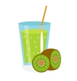 Kiwi juice in a glass Fresh isolated on white vector image