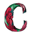 coloring freehand drawing capital letter c vector image