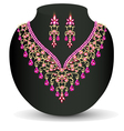 necklace with her wedding with red precious vector image