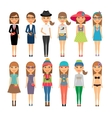 Cutie cartoon fashion girls in colorful clothes vector image