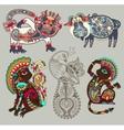 decorative ethnic folk animals and bird in vector image