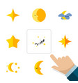 flat icon midnight set of moon asterisk star and vector image