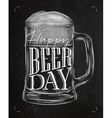 Poster beer day chalk vector image