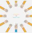 rock paper scissors for it signhand of business vector image