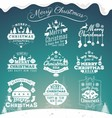 Set of Christmas decoration typography tag vector image