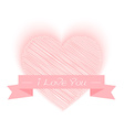 sketch heart shape with I Love You vector image