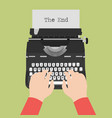 typewriter with blank paper sheet and male hands vector image