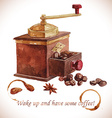 Watercolor coffee grinder with coffee beans vector image