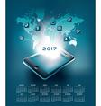 2017 mobil technology calendar vector image vector image
