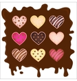 set of the sweetmeats in form heart on chocolate vector image vector image