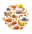 Snails With Leaves Round Composition vector image