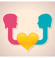 male and female face with heart symbol vector image vector image
