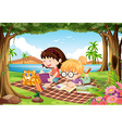 Girls reading under trees in beautiful park vector image vector image