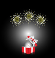 red gift box with white ribbon with firework vector image