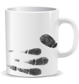 Coffee cup on white background with finger print vector image