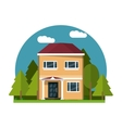 Colorful home building design vector image