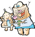 FATHER FEEDING BABY vector image vector image
