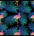 seamless flamingos and palm leaf pattern backgroun vector image