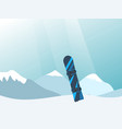 with snowy mountains and snowboard vector image vector image