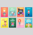 back to school card set school kids chalkboards vector image vector image