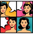 retro girls in pop art style vector image vector image