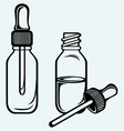 Open medicine bottle with a dropper vector image