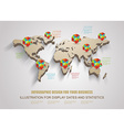 3d world map with modern elements of info gr vector image vector image