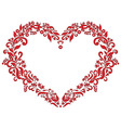 Embroidery inspired heart shape in red with floral vector image