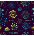 Holiday fireworks seamless pattern vector image