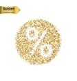 Gold glitter icon of percent isolated on vector image