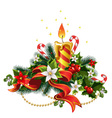 Christmas candle light with decorations vector image vector image