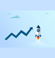 arrow up finance growth and flying space ship new vector image